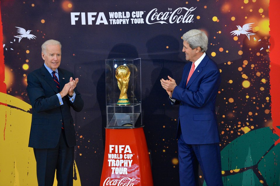 Vice President Biden and Secretary Kerry Unveil the FIFA World Cup Trophy