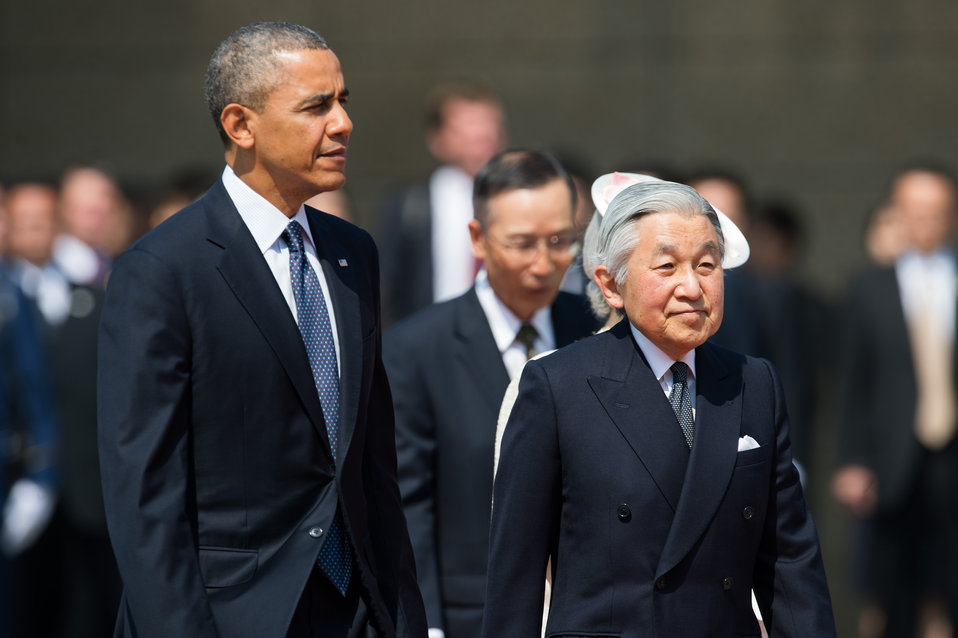 President Obama and Emperor of Japan at the Welcome Ceremony in Japan