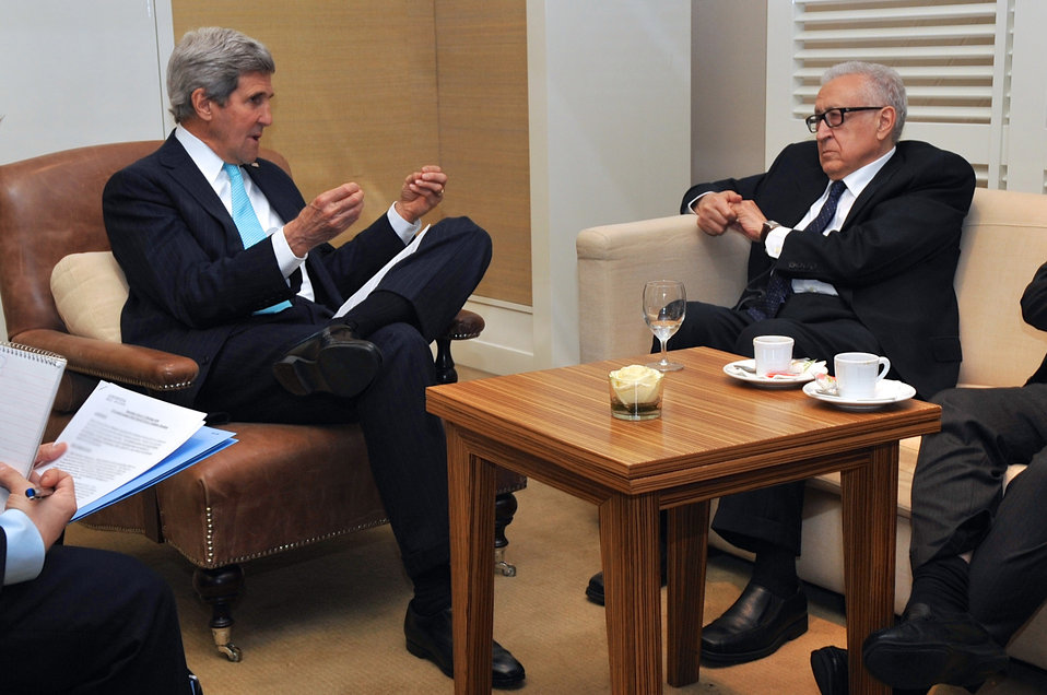 Secretary Kerry Meets With UN Special Representative Brahimi in Geneva