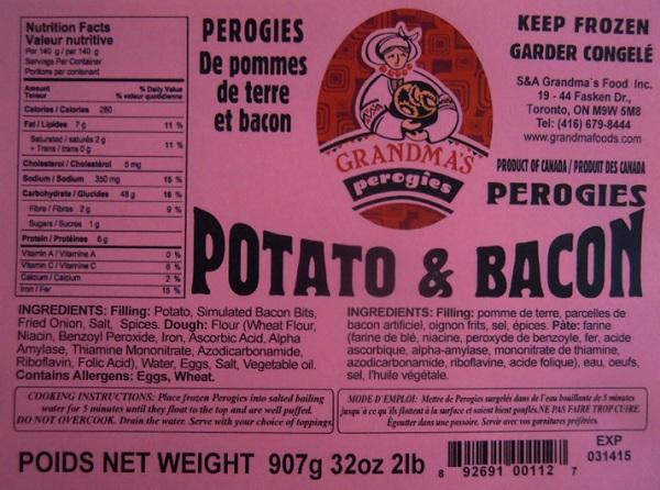 RECALLED – Potato and Bacon Perogies