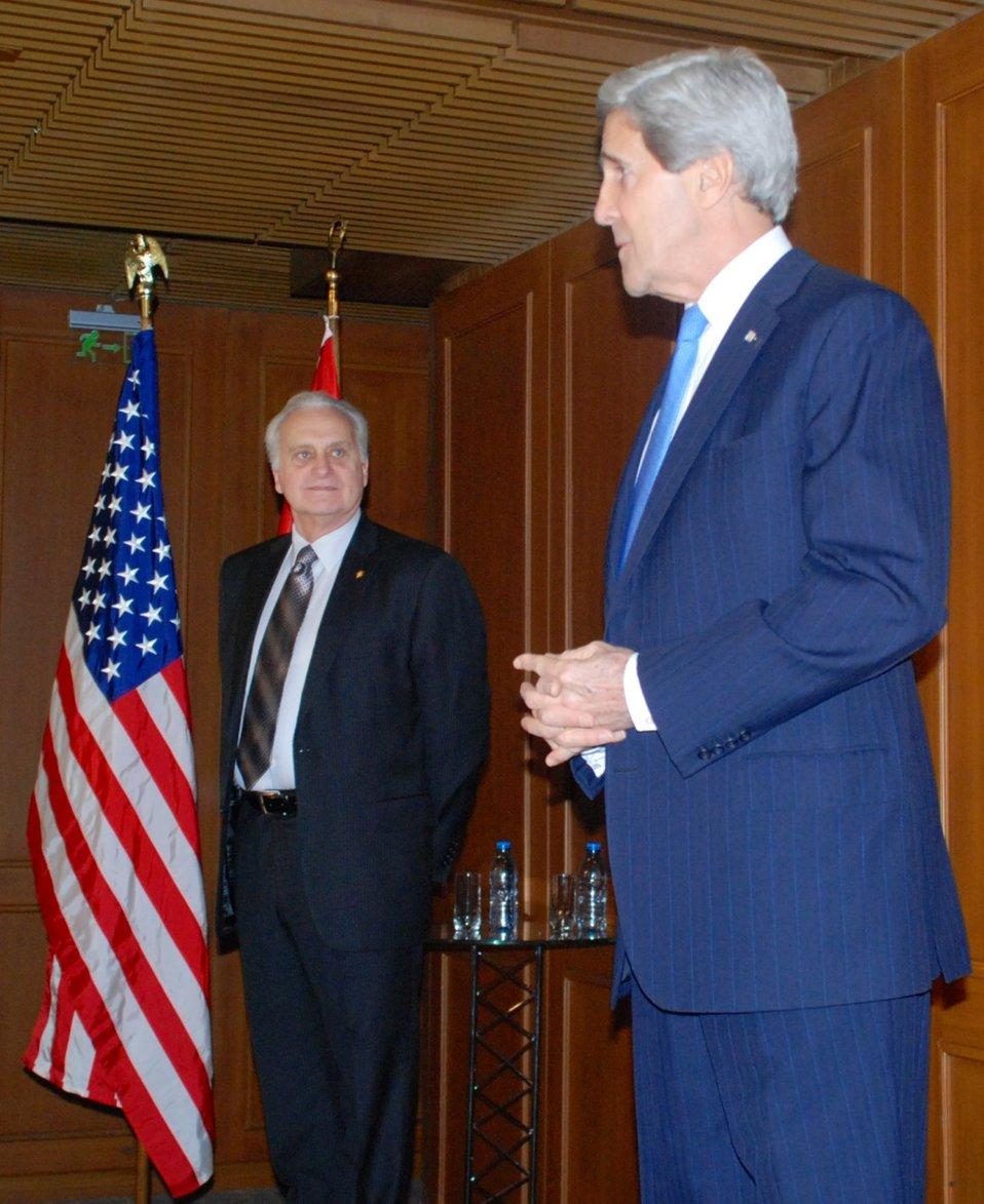 Secretary Kerry With U.S. Ambassador to Turkey Ricciardone
