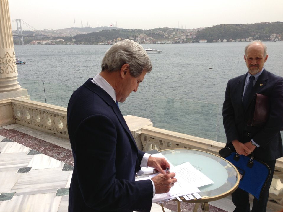 Secretary Kerry and Deputy Chief of Staff Danvers Prepare for Joint Press Availability in Istanbul, Turkey