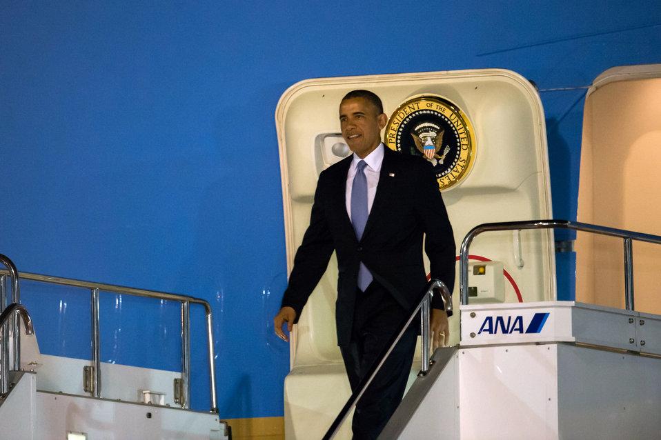 President Obama Arrives in Japan