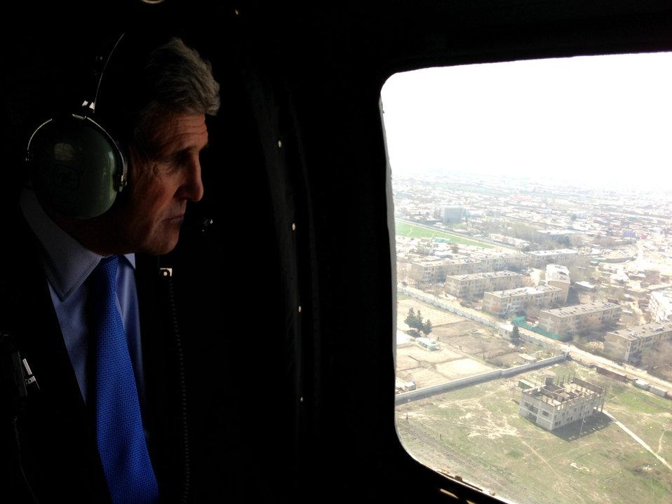 Secretary Kerry in a Helicopter Over Afghanistan