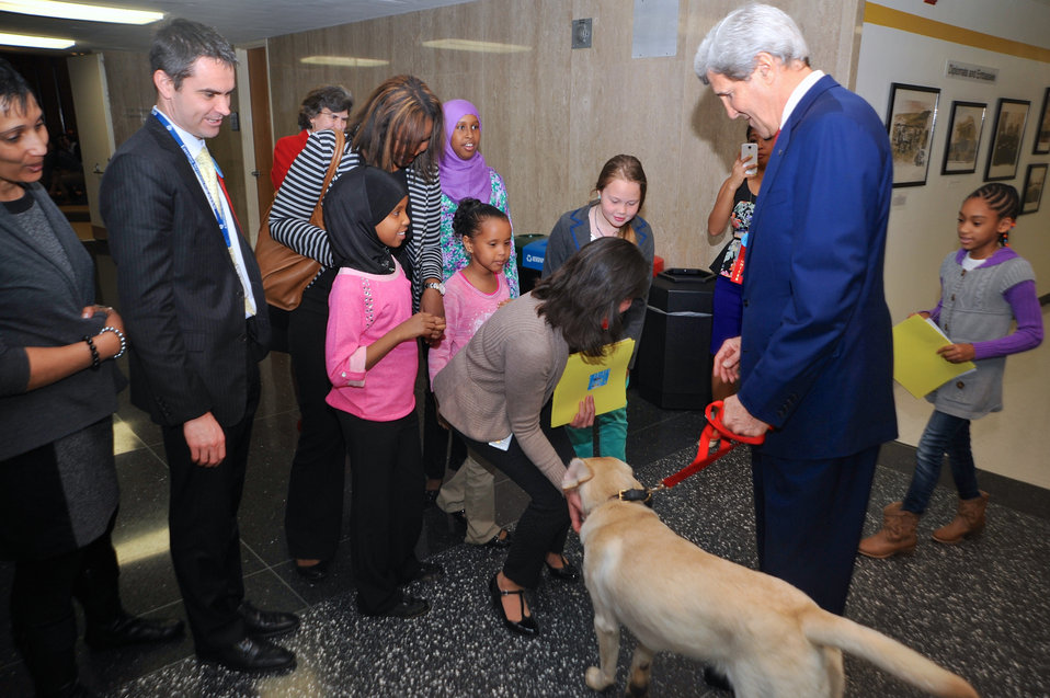 Secretary Kerry and His Dog, Ben, Greet State Department Employees and Their Relatives