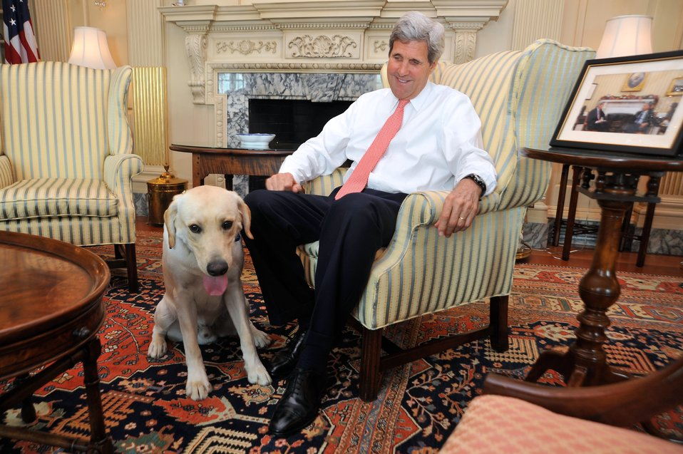 Secretary Kerry Wishes Ben the Dog a Happy First Birthday