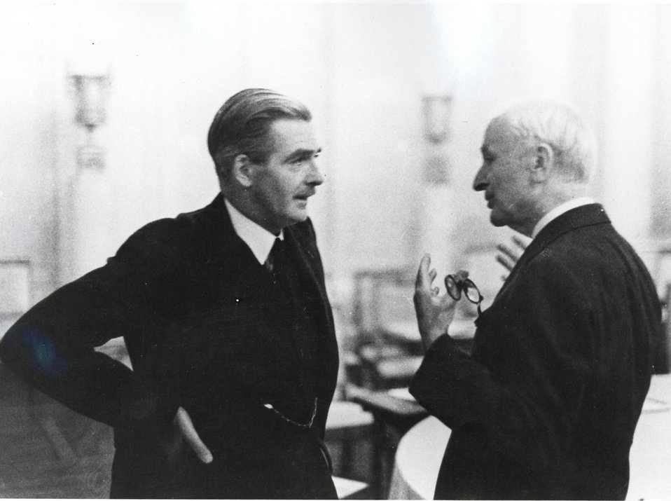 U.S. Secretary of State Cordell Hull conversing with British Foreign Minister Anthony Eden