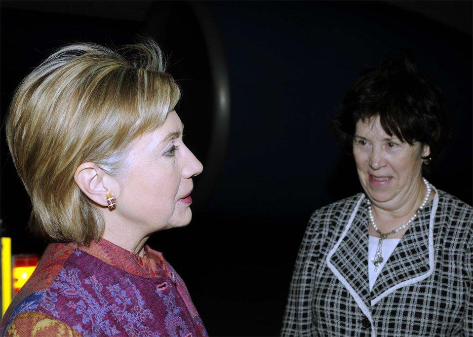 Secretary Clinton Arrives in Egypt