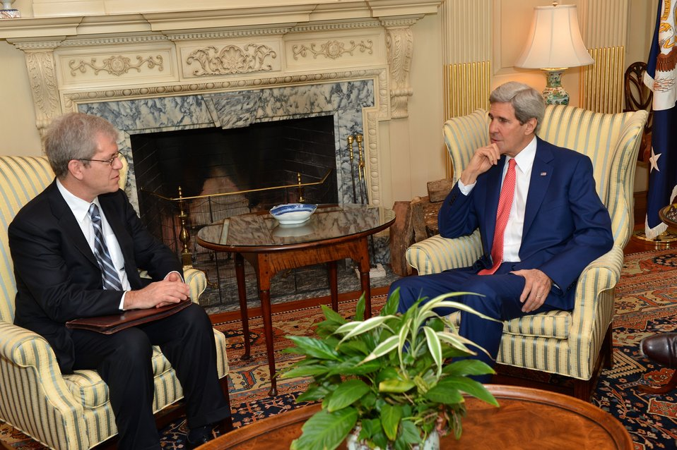 Secretary Kerry Speaks With AFSA President Silverman