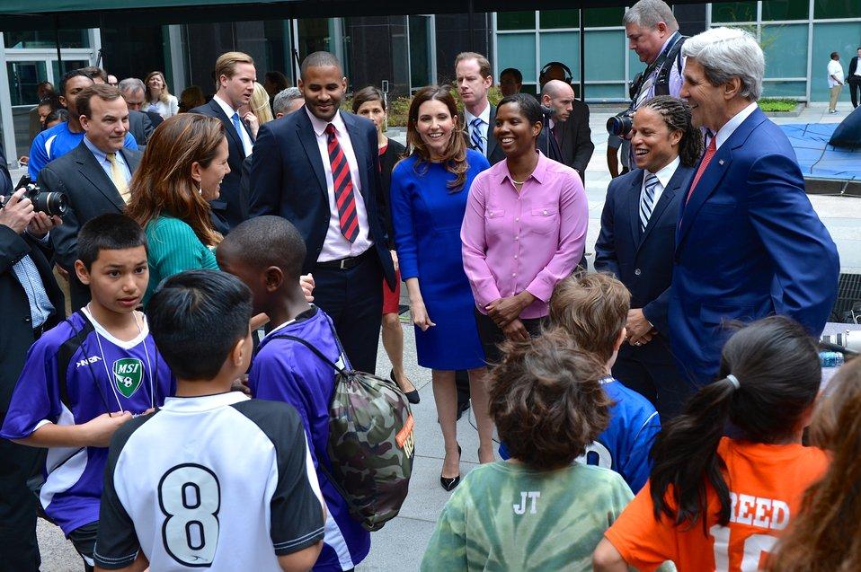 Secretary Kerry Speaks With Sports Envoy Julie Foudy