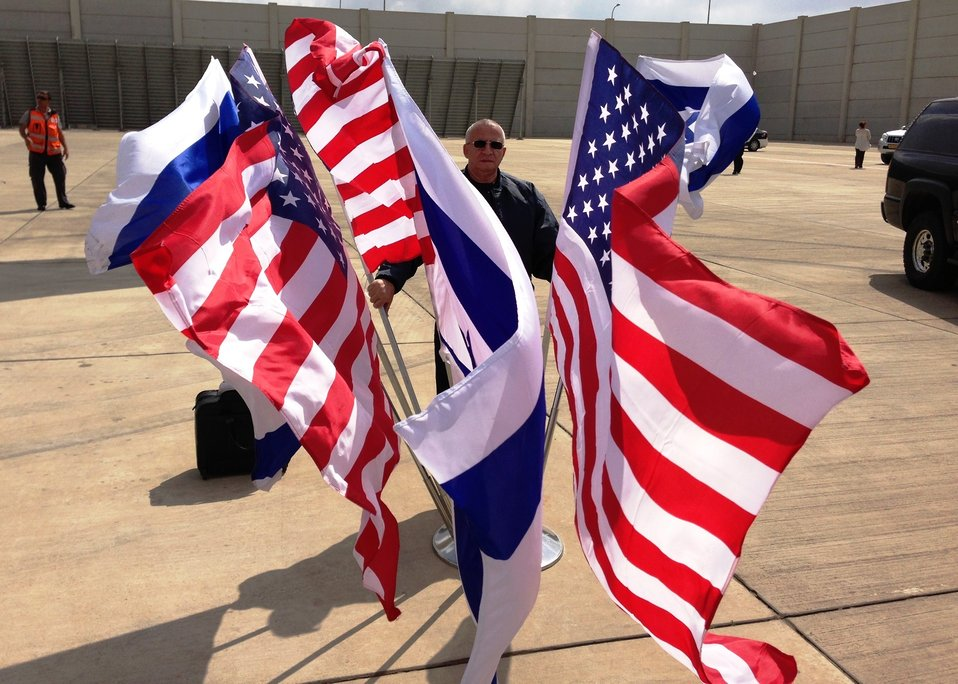 Flags Flutter in the Wind at Ben Gurion International Airport