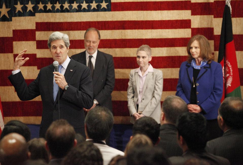 Secretary Kerry Speaks to U.S. Embassy Kabul Staff and Families