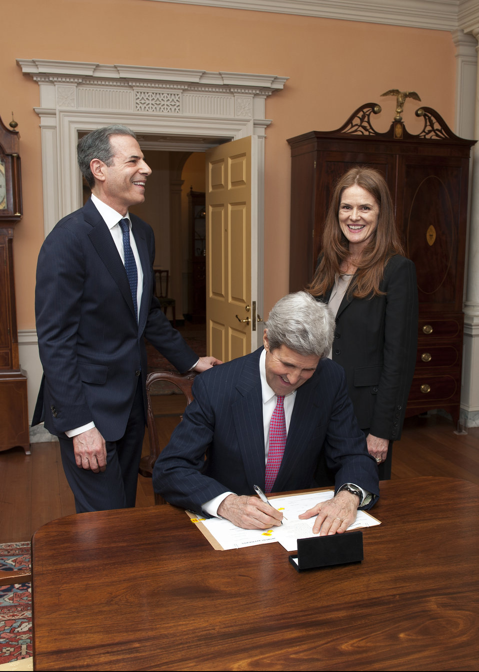 Secretary Kerry Signs Under Secretary Stengel's Appointment Papers