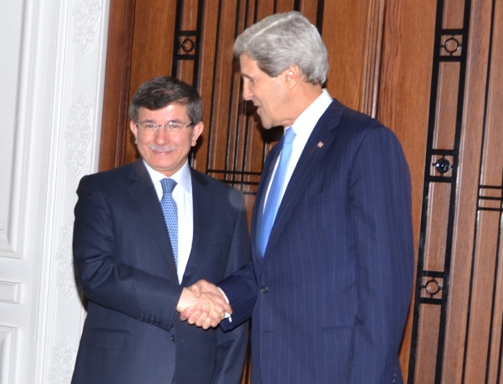 Secretary Kerry Shakes Hands With Turkish Foreign Minister Davutoglu
