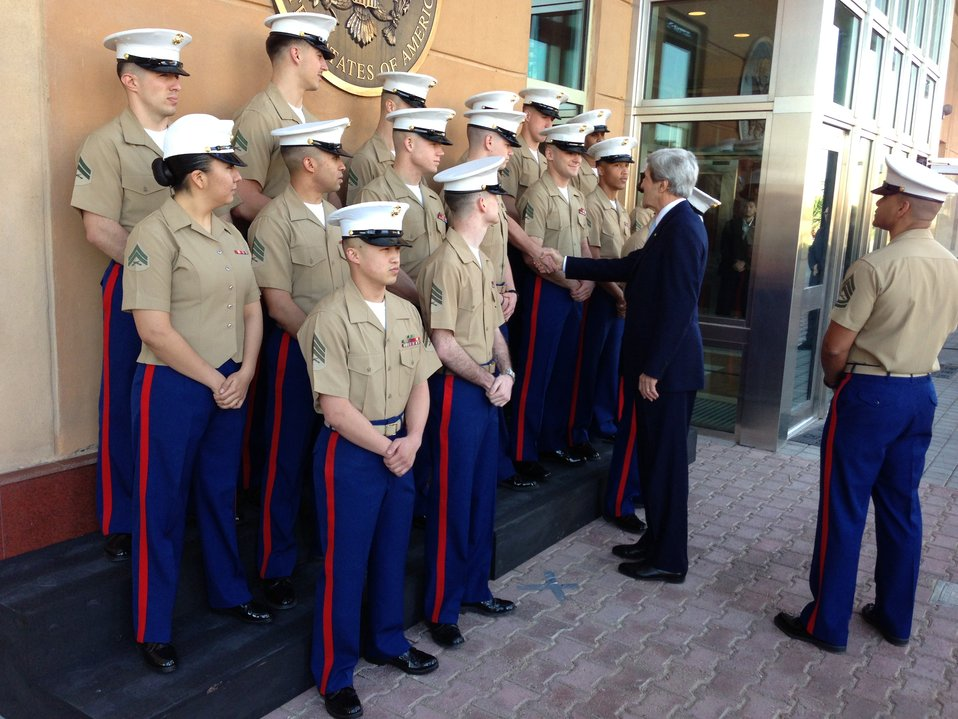 Secretary Kerry Greets U.S. Embassy Baghdad Marine Corps Detachment