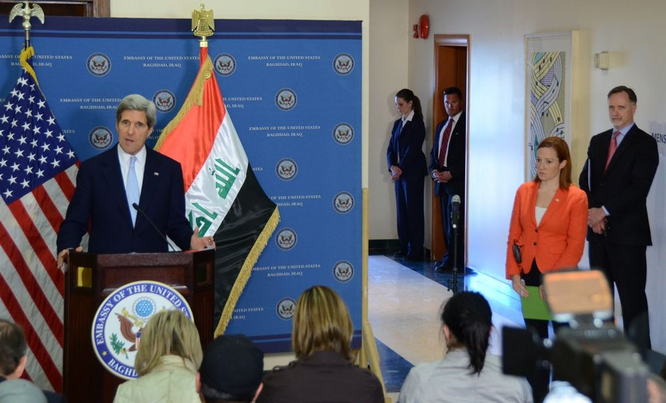 Secretary Kerry Delivers Remarks in Baghdad