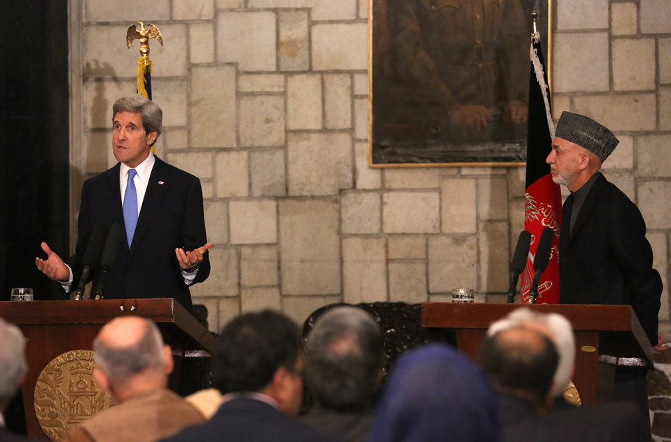 Secretary Kerry Delivers Remarks With Afghan President Karzai