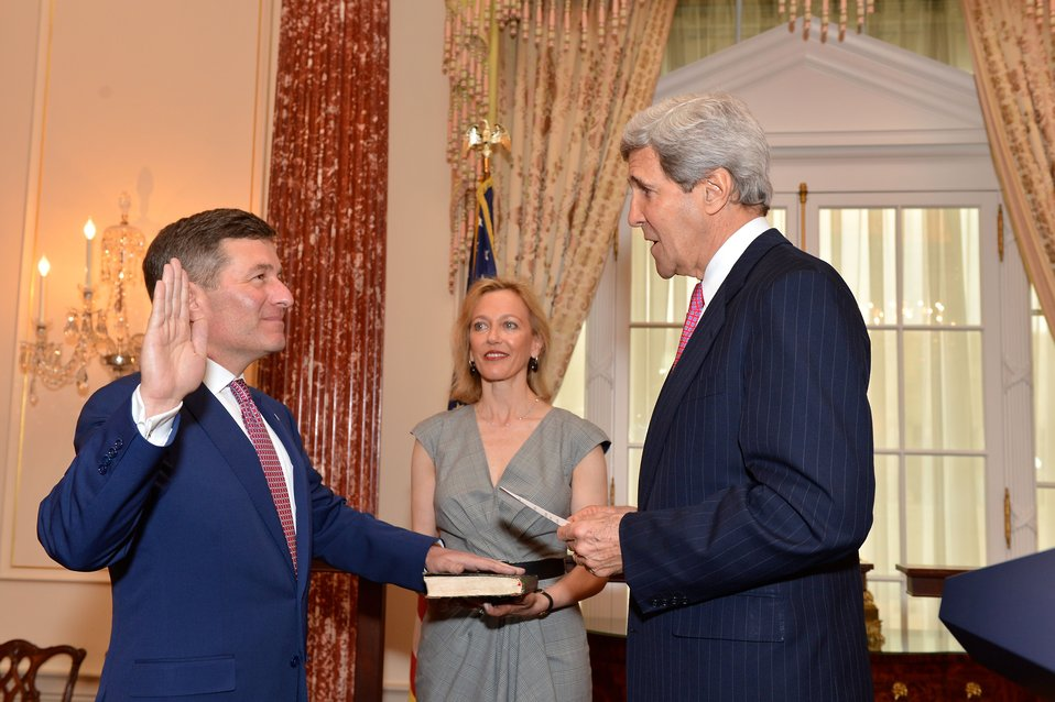 Secretary Kerry Swears in Ambassador Rivkin as Assistant Secretary