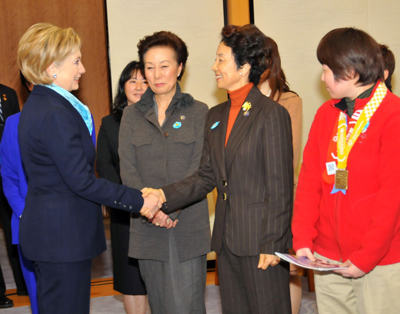 Secretary Clinton With Honorary Chairperson of the Japan Special Olympics Committee