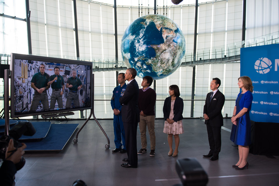 President Obama and Ambassador Kennedy Watch Space Station Video