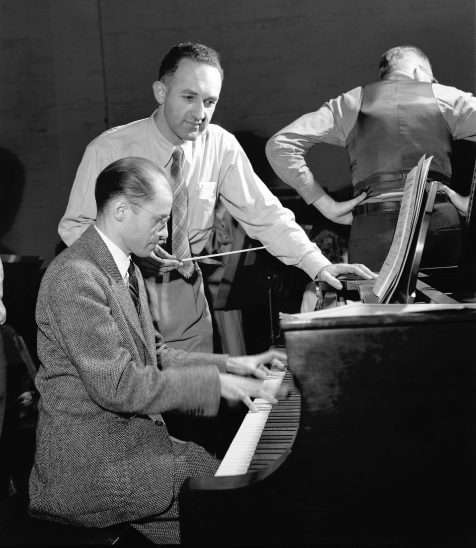 Prof. Albert Schmid on piano and Dr. Waldo Cohn 1948 Oak Ridge