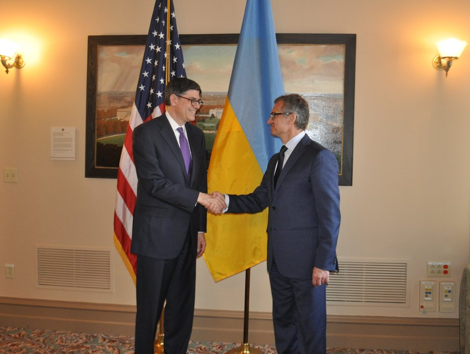 Secretary Lew and Ukrainian Finance Minister Oleksandr Shlapak meet at Treasury