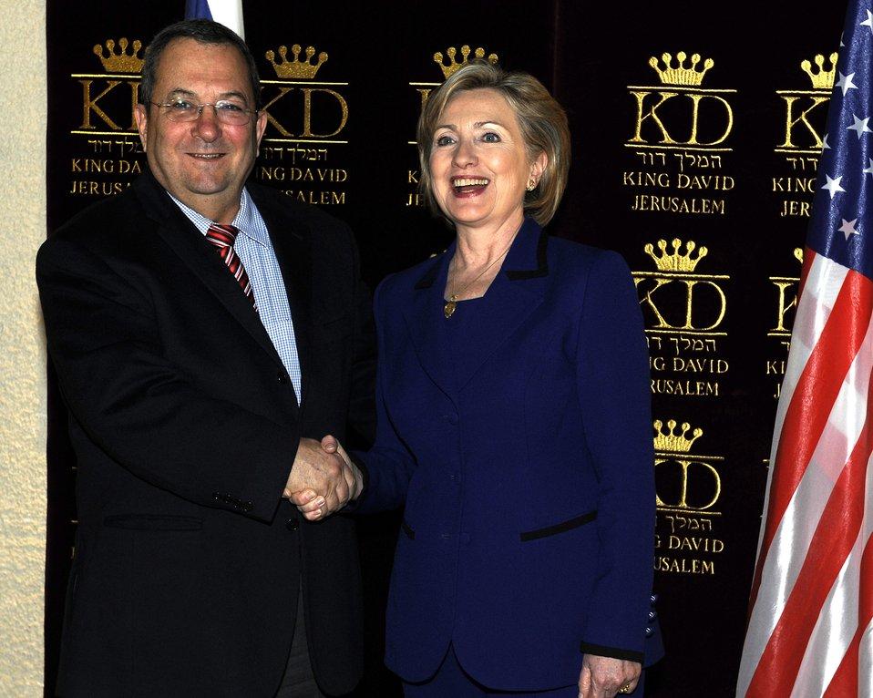 Secretary Clinton With Israeli Defense Minister Ehud Barak