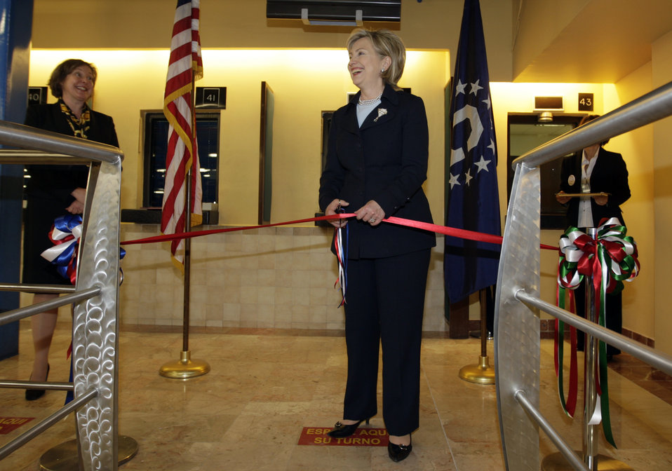 Secretary Clinton at U.S. Embassy in Mexico City