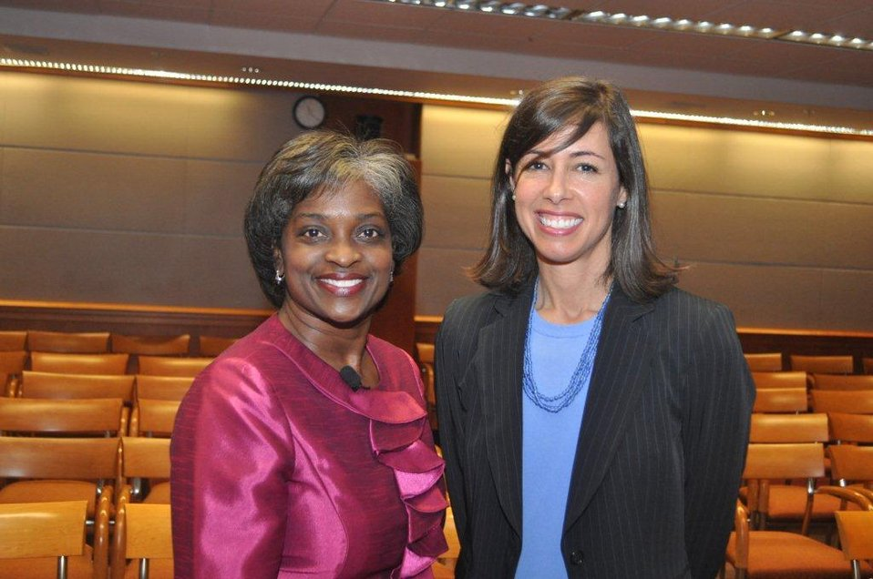Acting Chairwoman  Mignon Clyburn and Commissioner Jessica Rosenworcel at Chairwoman's swearing in ceremony