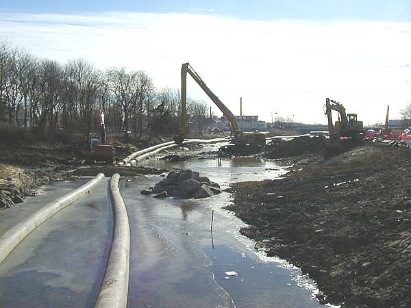 Winter 2003, Redirecting the Acushnet River to allow excavation of the river bed