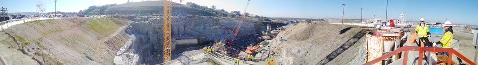 Panoramic view of Folsom Dam auxiliary spillway construction