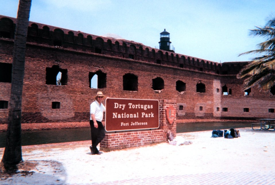 The mandatory pose at the entrance to Fort Jefferson.