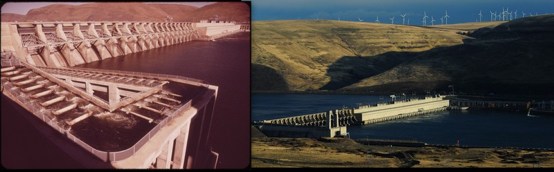 Then and Now, John Day Dam, Columbia River
