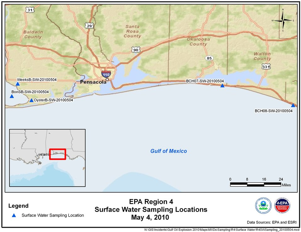 EPA Water Sampling Locations May 4, 2010