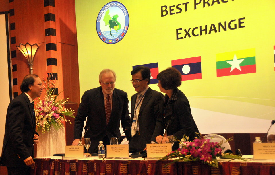 U.S. Ambassador David B. Shear, second from left, and other delegates at the Lower Mekong Initiative Infrastructure Best Practices Exchange in Hanoi