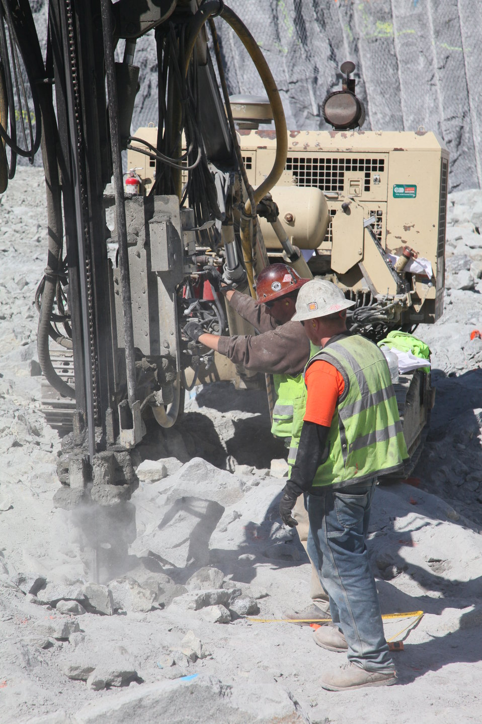 Drilling in the shear zone of the Folsom Dam auxiliary spillway