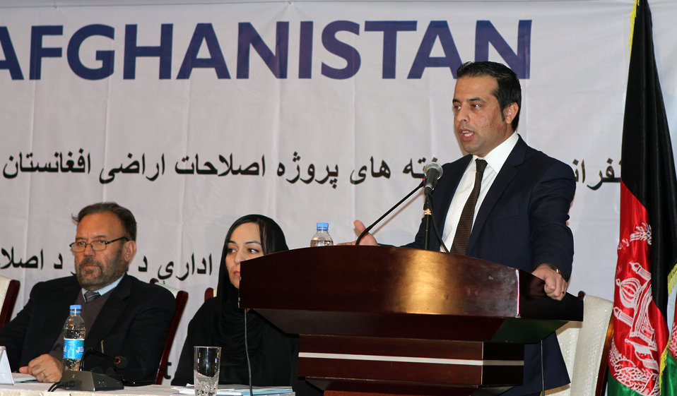 Chief Executive Officer of the Independent Land Authority of Afghanistan (Arazi) Jawad Peikar speaks at the final conference presenting the USAID Land Reform Project achievements in Kabul today.
