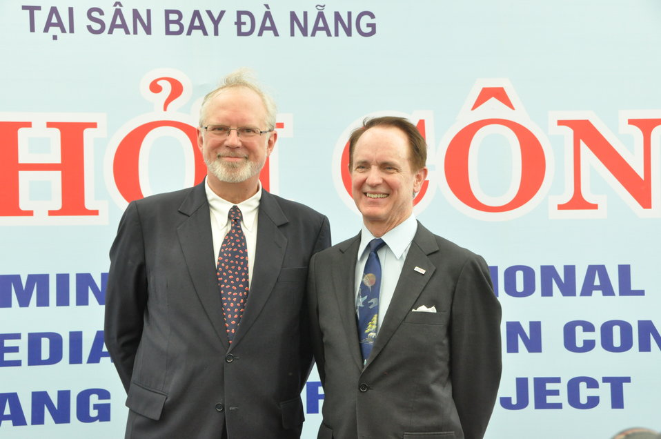 U.S. Ambassador David B. Shear, left, and USAID Director Francis Donovan at the launch event