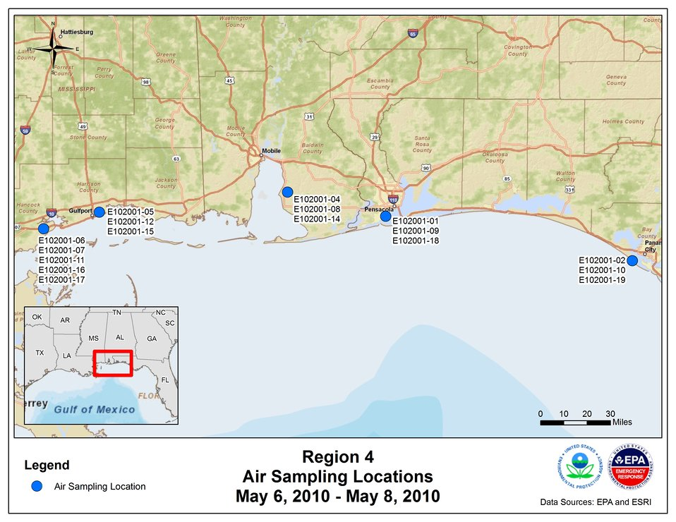 EPA Air Sampling Locations May 6-8, 2010