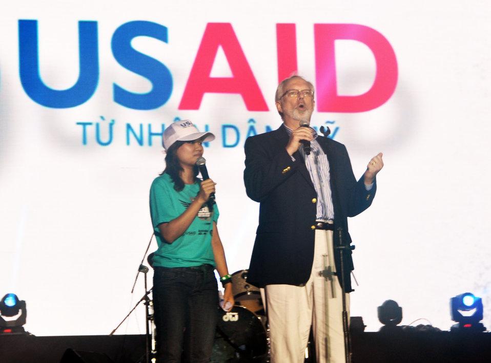 U.S. Ambassador David Shear belts out the message: Stop - human trafficking - NOW.