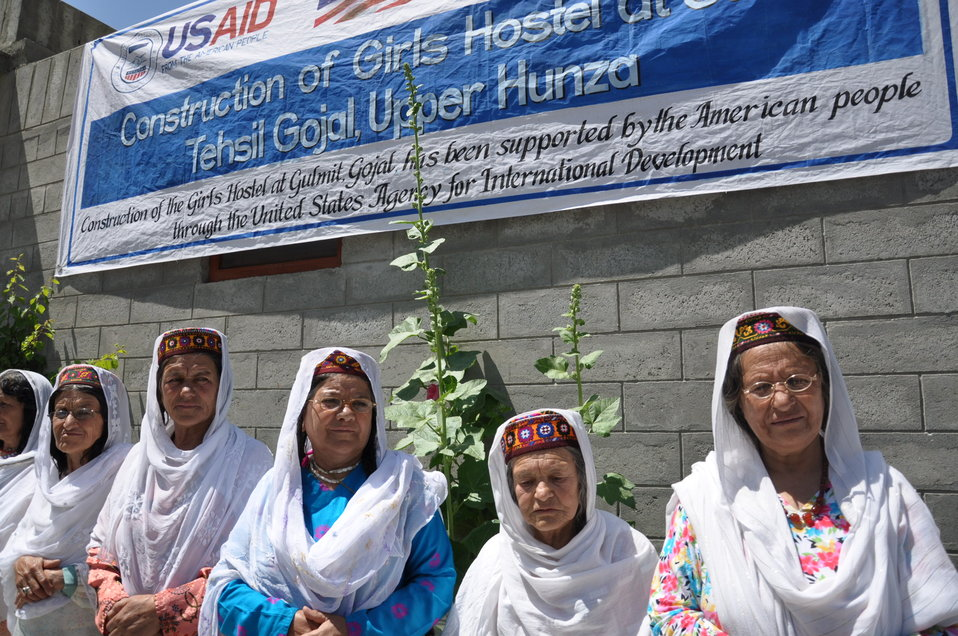 Village elders at Girls Hostel construction, Gulmit to welcome Deputy Director Karen Freeman (USAID)