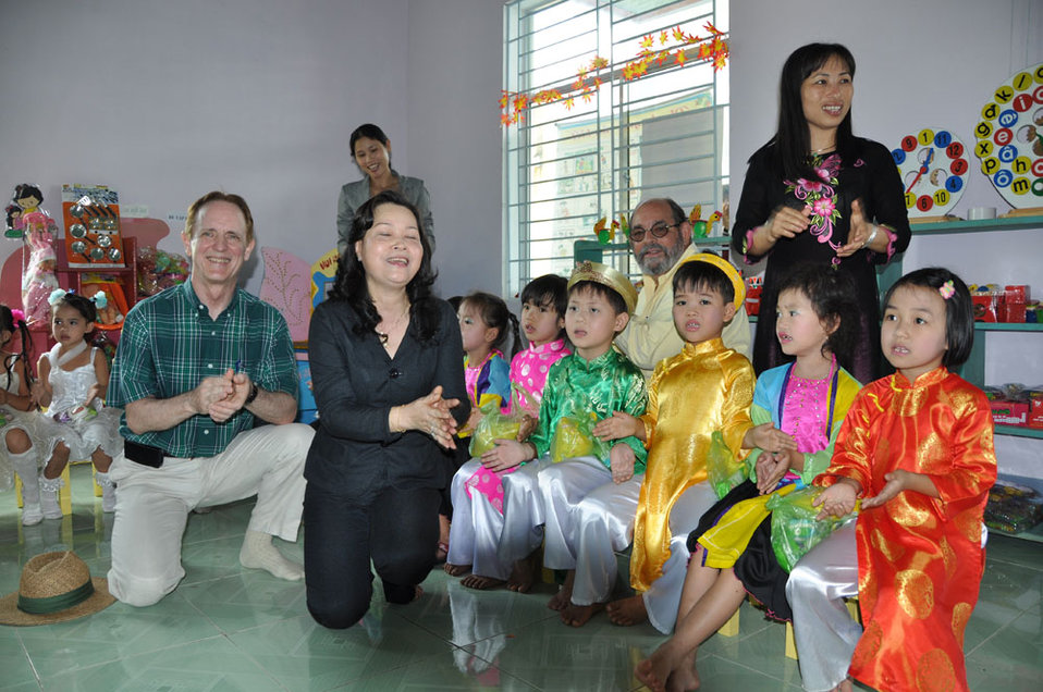 Children in Kon Tum, Vietnam, enjoy their new pre-schools refurbished with USAID funding