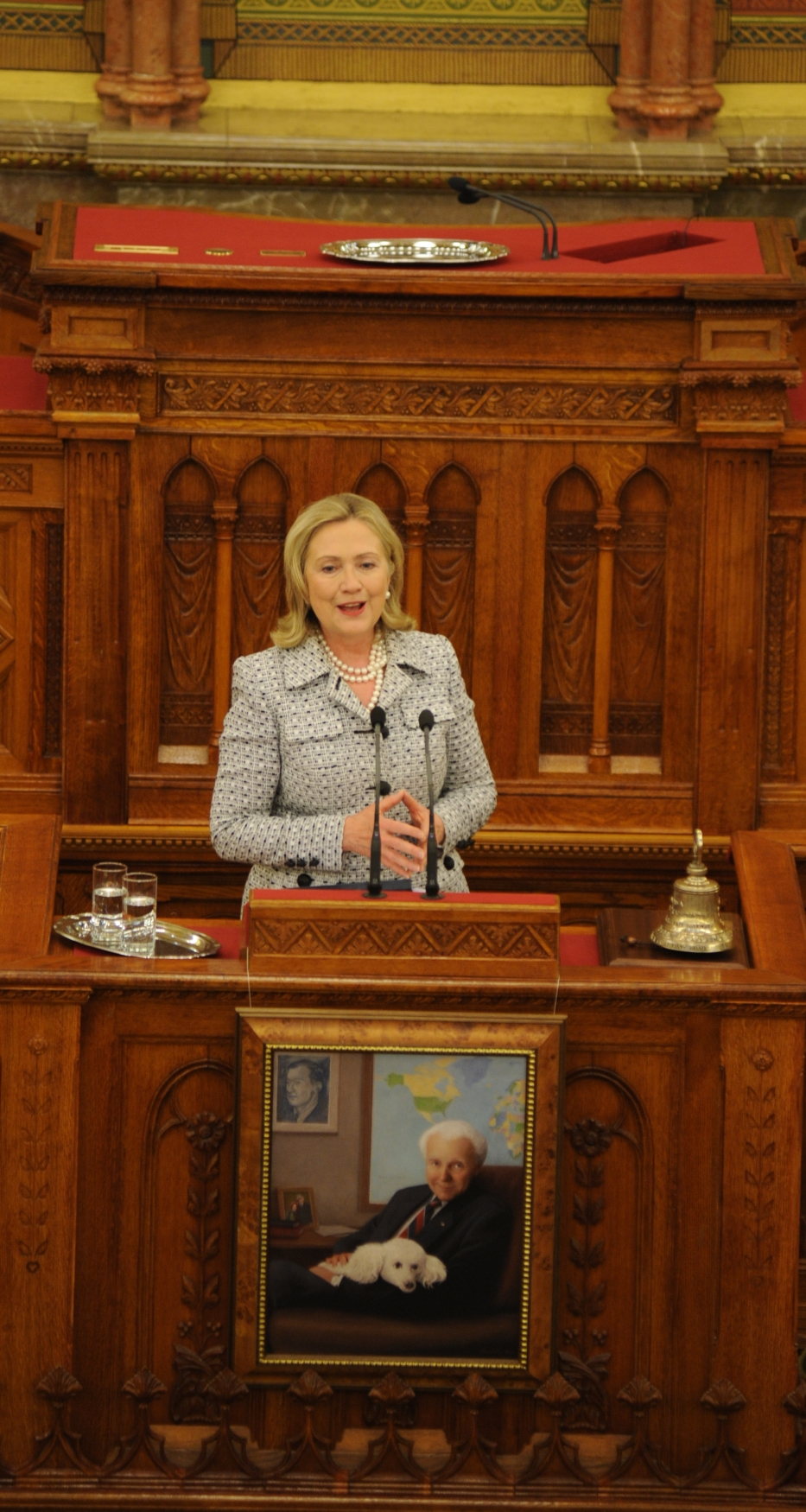 Secretary Clinton Delivers Her Speech During the Inauguration of the Tom Lantos Institute