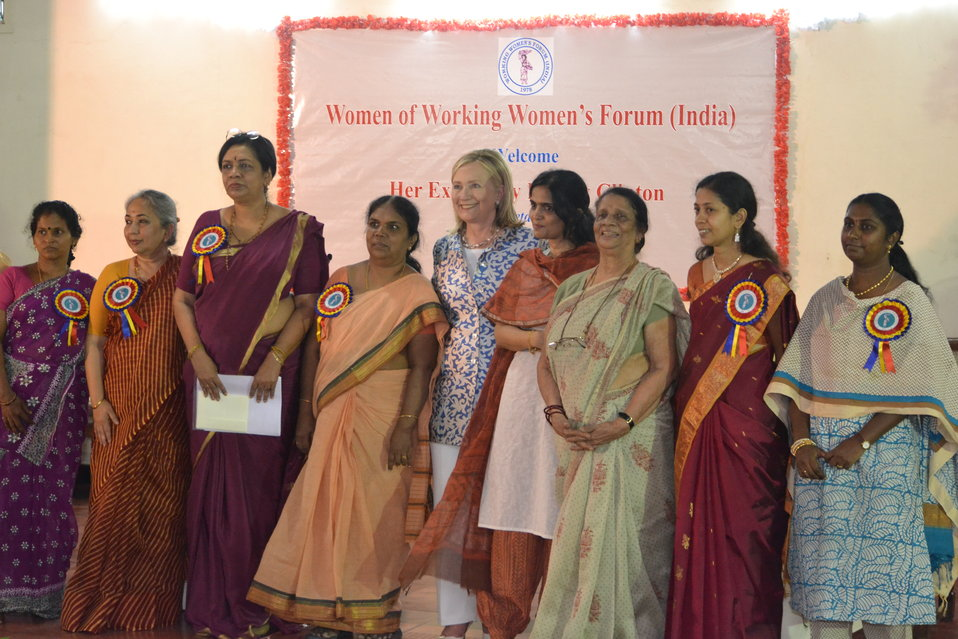 Secretary Clinton and Jaya Arunachalam Pose for a Photo With Workin Women's Forum Honorees