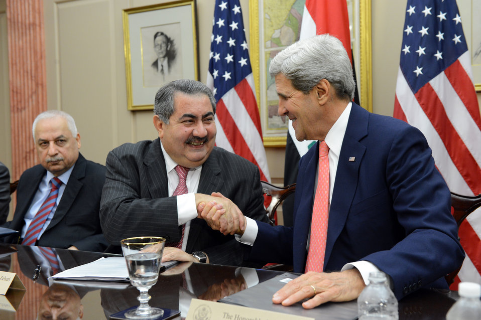 Secretary Kerry and Iraqi Foreign Minister Zebari Shake Hands at the Fourth Meeting of the U.S.-Iraq Political and Diplomatic Joint Coordination Committee
