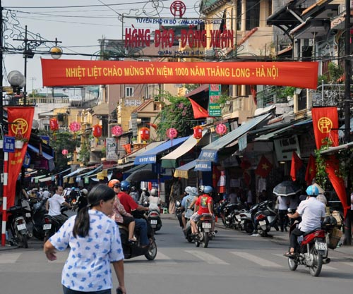 Hang Dao Street decorated for 1000th anniversary of Hanoi.
