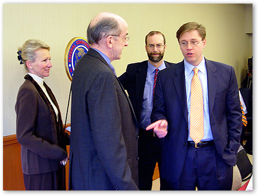 FCC Chairman Kevin Martin and Commissioners Tate, Copps, and Adelstein before FCC Commission meeting. February 10, 2006, Keller, Texas.