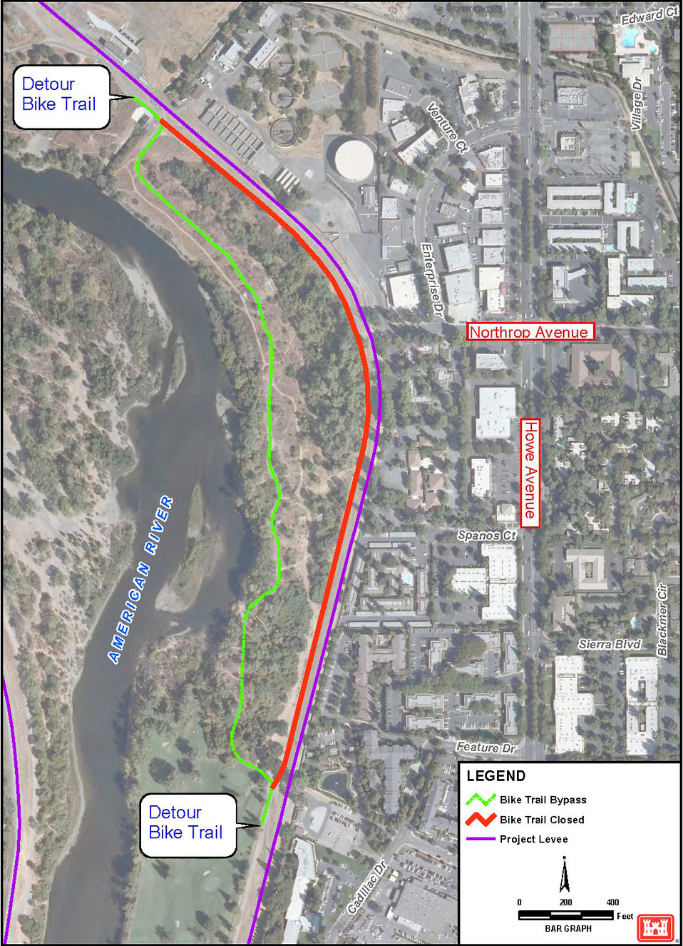 (R6) American River Bike Trail detour and levee construction map