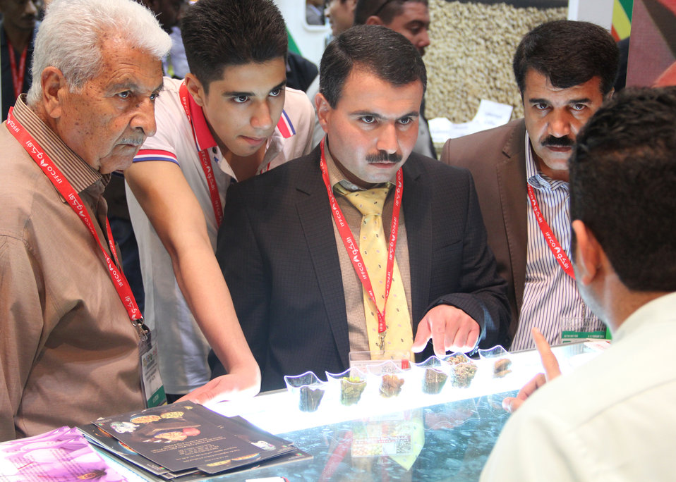 Visitors gather at the Afghanistan Pavilion at Gulfood to sample Afghanistan's dried fruit and nuts, one of its main agricultural exports. Afghan traders signed deals worth more than $2 million dollars during the first two days of the exhibition.