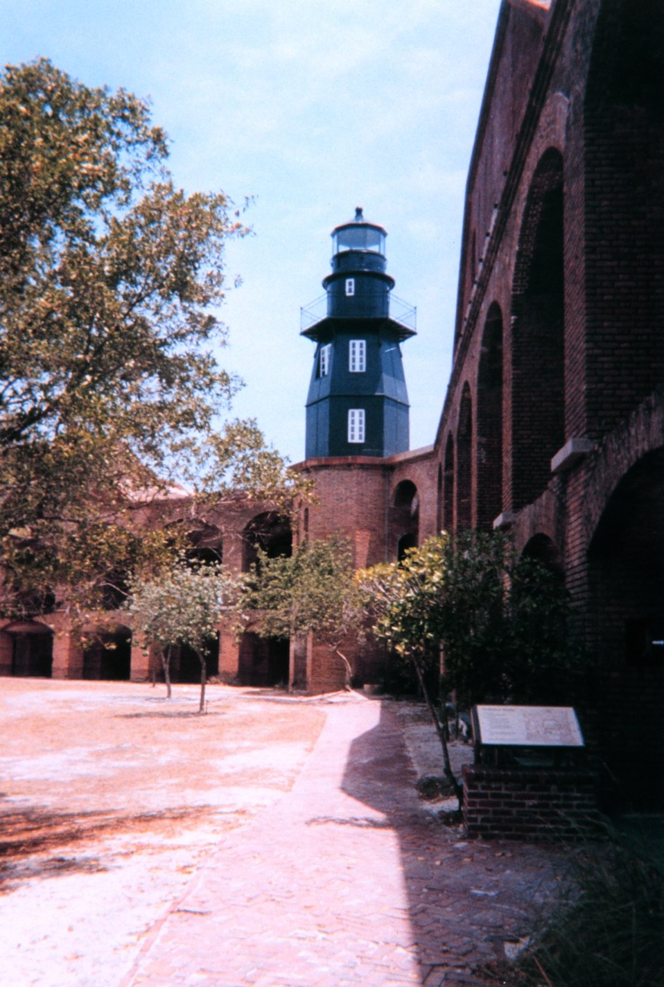 The lighthouse at Fort Jefferson, Dry Tortugas National Park, as seen from the interior of the fort.